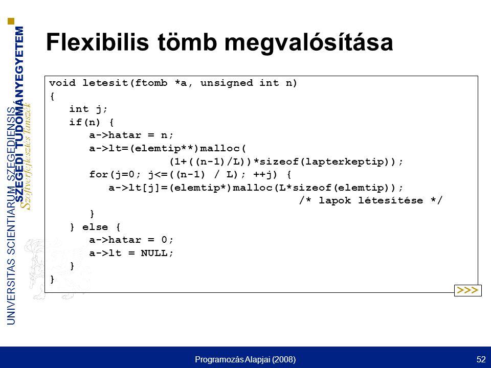 SZEGEDI TUDOMÁNYEGYETEM S zoftverfejlesztés Tanszék UNIVERSITAS SCIENTIARUM SZEGEDIENSIS Programozás Alapjai (2008)52 Flexibilis tömb megvalósítása vo