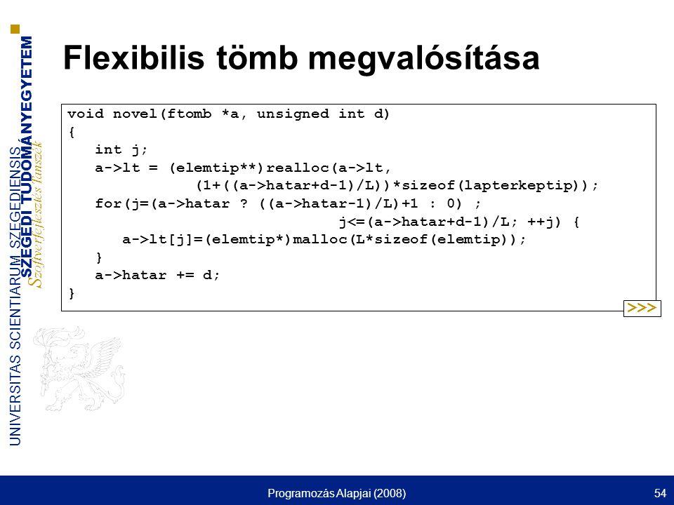 SZEGEDI TUDOMÁNYEGYETEM S zoftverfejlesztés Tanszék UNIVERSITAS SCIENTIARUM SZEGEDIENSIS Programozás Alapjai (2008)54 Flexibilis tömb megvalósítása vo