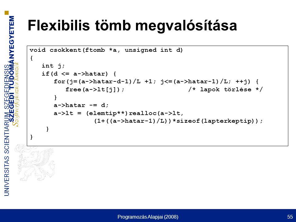 SZEGEDI TUDOMÁNYEGYETEM S zoftverfejlesztés Tanszék UNIVERSITAS SCIENTIARUM SZEGEDIENSIS Programozás Alapjai (2008)55 Flexibilis tömb megvalósítása vo