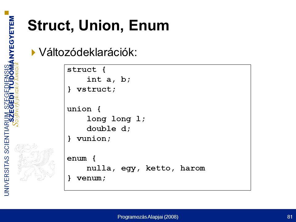 SZEGEDI TUDOMÁNYEGYETEM S zoftverfejlesztés Tanszék UNIVERSITAS SCIENTIARUM SZEGEDIENSIS Programozás Alapjai (2008)81 Struct, Union, Enum  Változódek