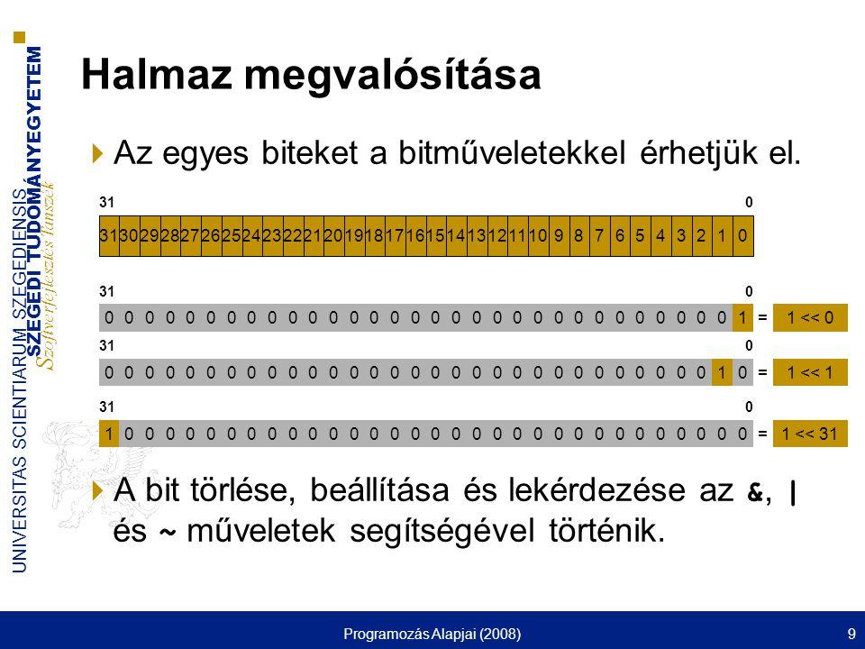 SZEGEDI TUDOMÁNYEGYETEM S zoftverfejlesztés Tanszék UNIVERSITAS SCIENTIARUM SZEGEDIENSIS Programozás Alapjai (2008)130 Formatált I/O műveletek  %[flag][n[.m]][length]type  Az m a pontosságot jelenti ■Decimális szám: – i, d, o, x, X, u esetén legalább ennyi számjegyet ír ki, szükség esetén balról a 0 karakterrel kitöltve a helyet.
