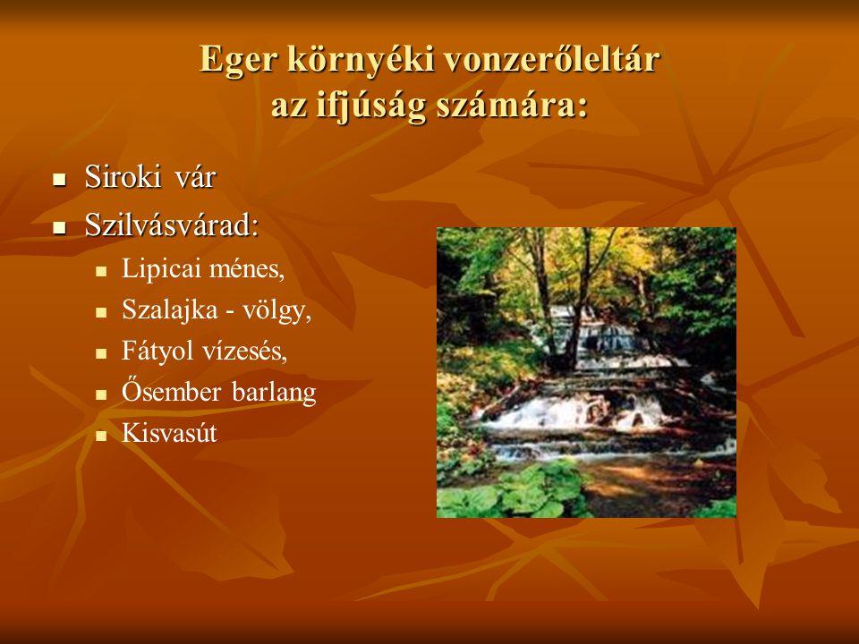 Eger környéki vonzerőleltár az ifjúság számára: Siroki vár Siroki vár Szilvásvárad: Szilvásvárad: Lipicai ménes, Szalajka - völgy, Fátyol vízesés, Őse