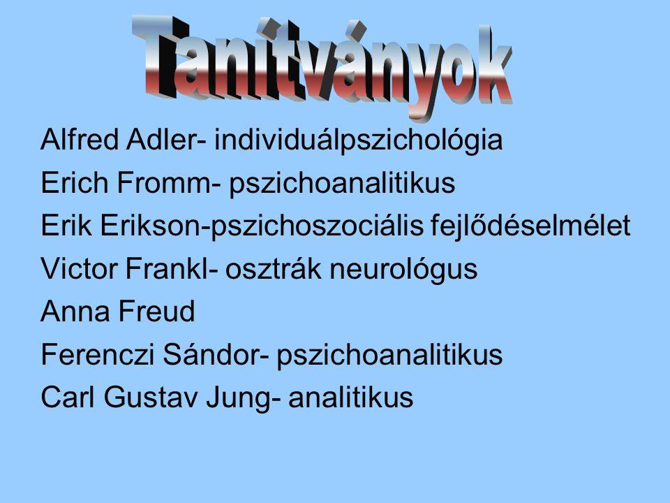Alfred Adler- individuálpszichológia Erich Fromm- pszichoanalitikus Erik Erikson-pszichoszociális fejlődéselmélet Victor Frankl- osztrák neurológus Anna Freud Ferenczi Sándor- pszichoanalitikus Carl Gustav Jung- analitikus