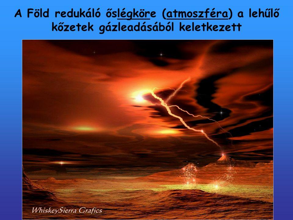 A Föld redukáló őslégköre (atmoszféra) a lehűlő kőzetek gázleadásából keletkezett