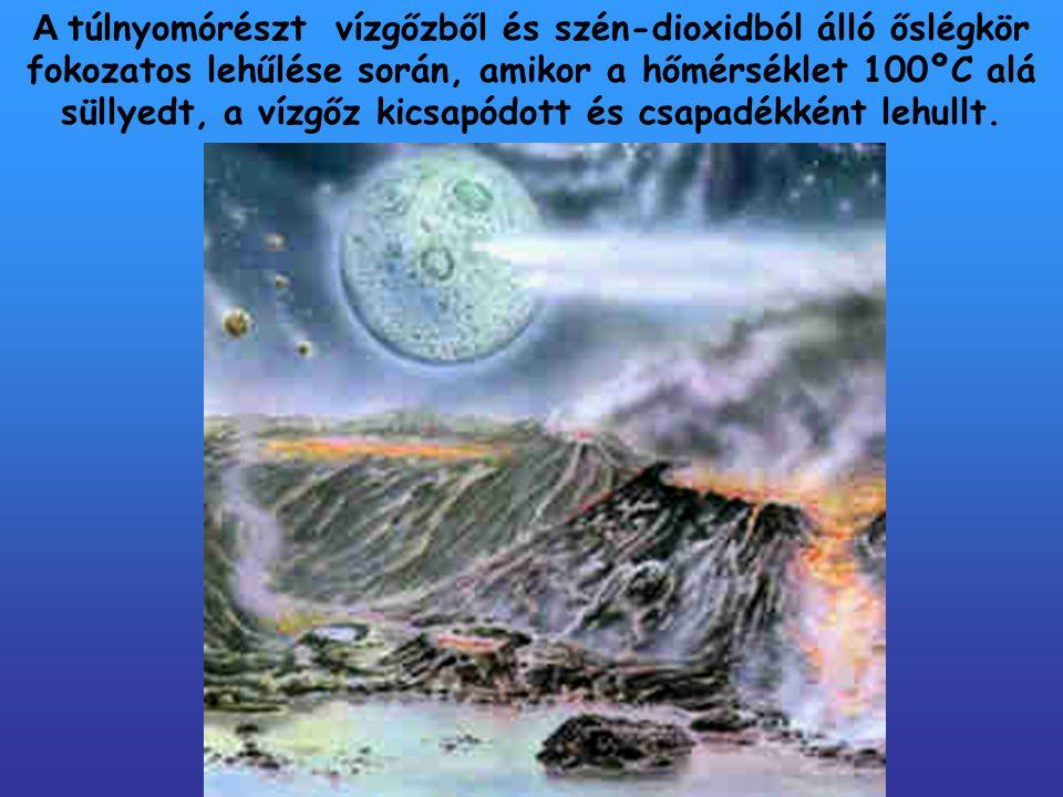 Az őslégkörből aláhulló csapadék összegyűlt a felszínen és kialakultak az óceánok, tengerek, vízfolyások.