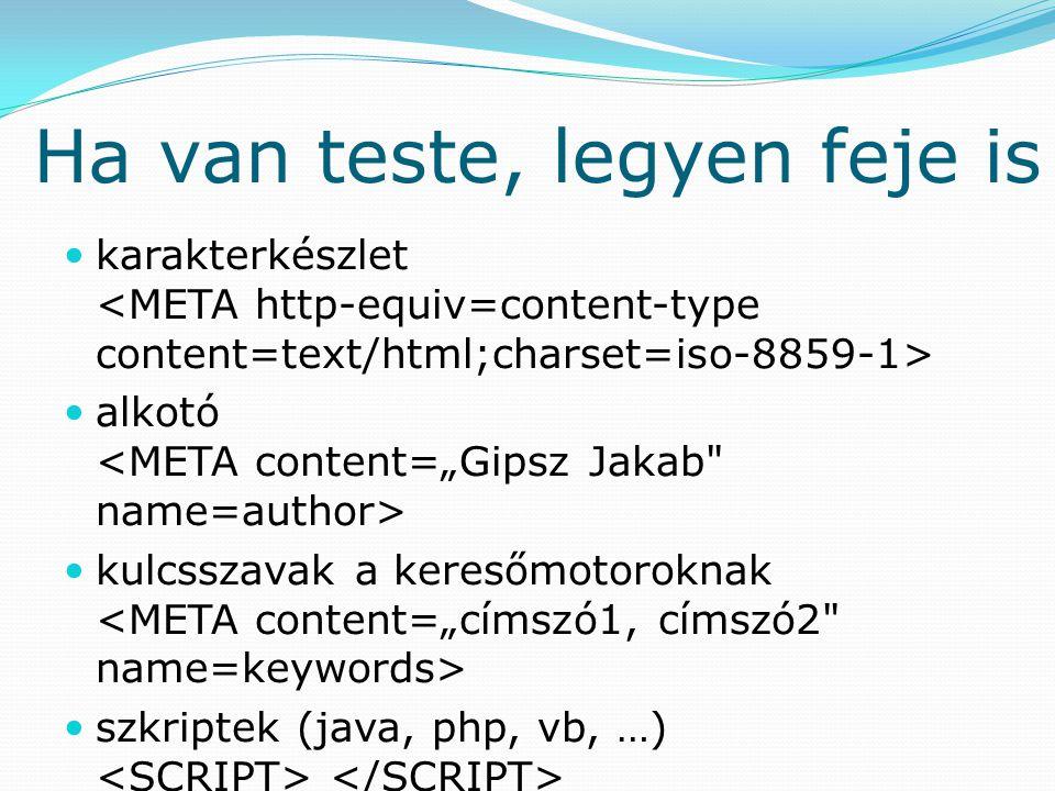 Ha van teste, legyen feje is karakterkészlet alkotó kulcsszavak a keresőmotoroknak szkriptek (java, php, vb, …)