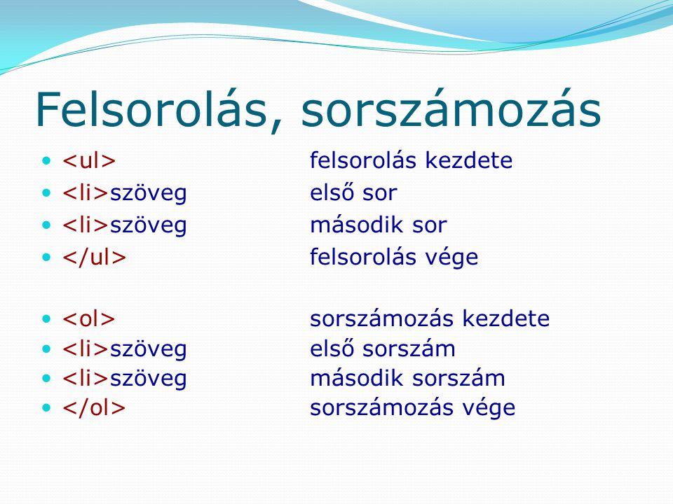 Felsorolás, sorszámozás felsorolás kezdete szövegelső sor szövegmásodik sor felsorolás vége sorszámozás kezdete szövegelső sorszám szövegmásodik sorsz