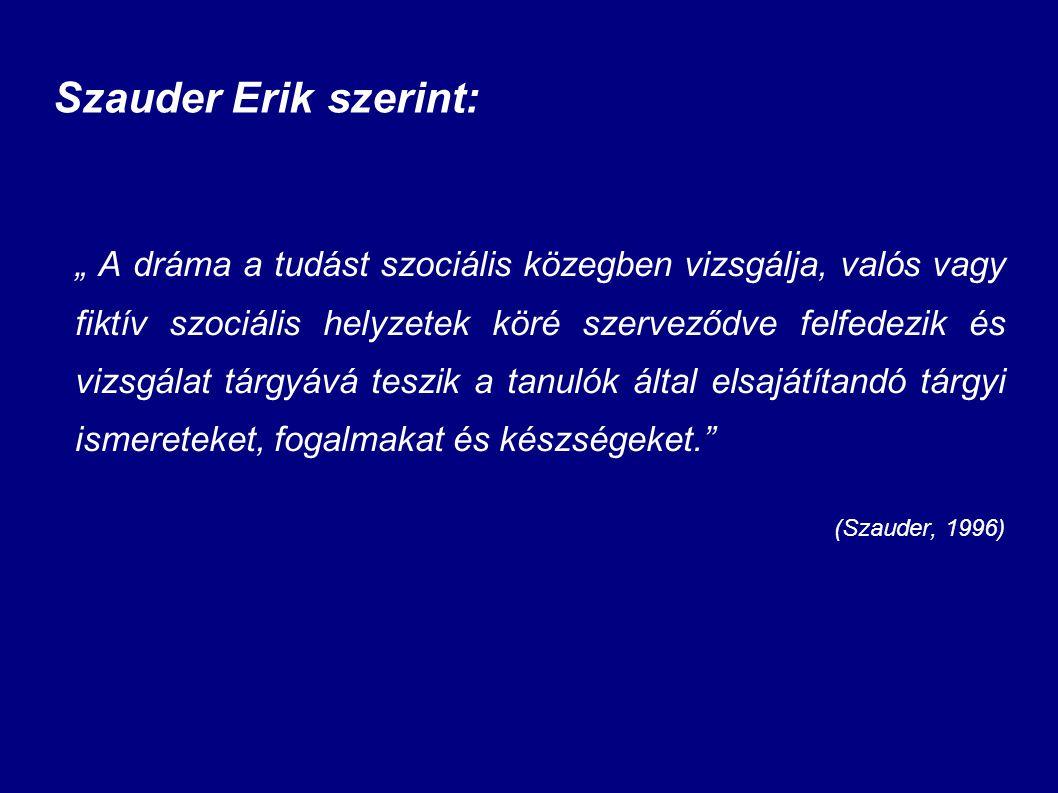 """Szauder Erik szerint: """" A dráma a tudást szociális közegben vizsgálja, valós vagy fiktív szociális helyzetek köré szerveződve felfedezik és vizsgálat"""