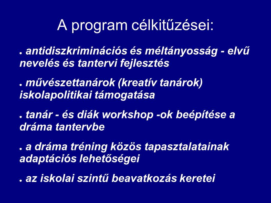 A program célkitűzései: ● antidiszkriminációs és méltányosság - elvű nevelés és tantervi fejlesztés ● művészettanárok (kreatív tanárok) iskolapolitika