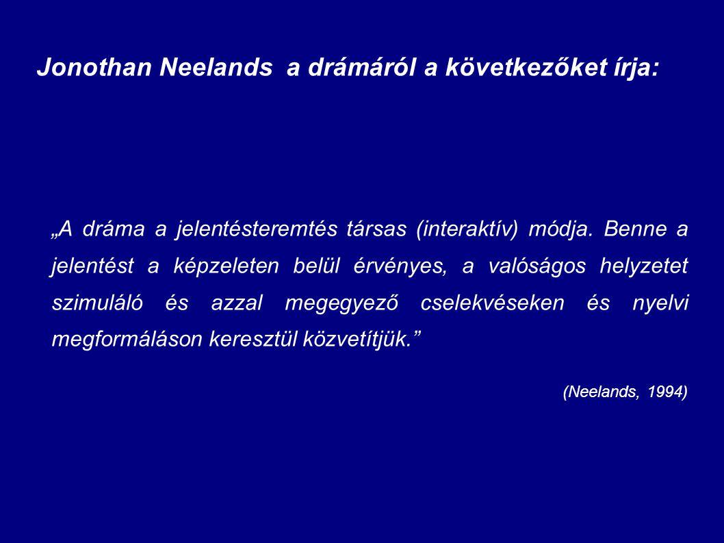 """Jonothan Neelands a drámáról a következőket írja: """"A dráma a jelentésteremtés társas (interaktív) módja. Benne a jelentést a képzeleten belül érvényes"""