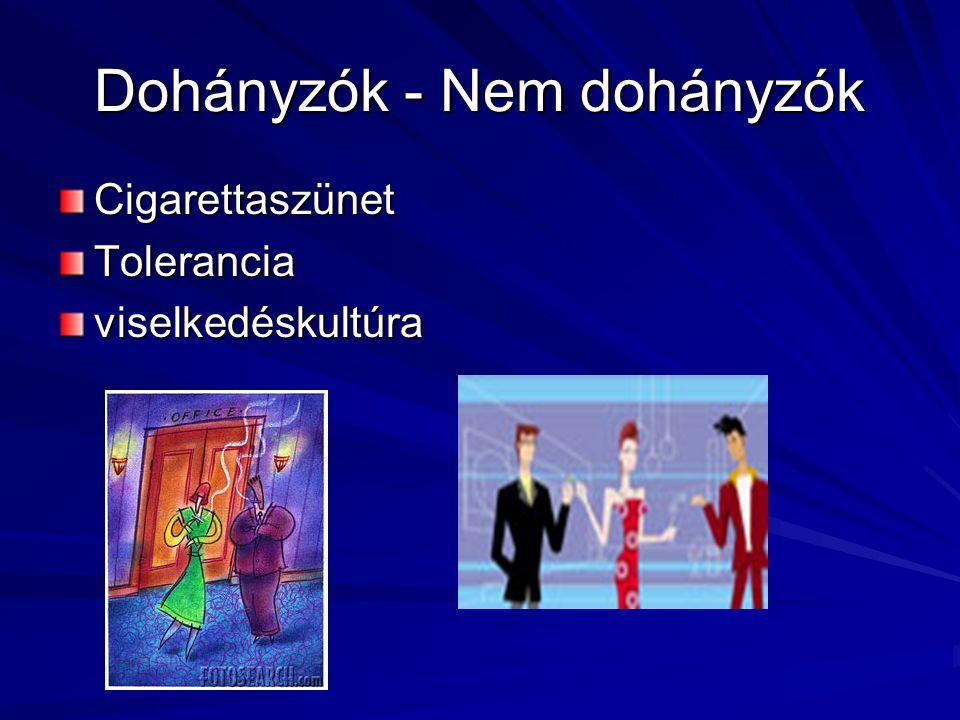 Dohányzók - Nem dohányzók CigarettaszünetToleranciaviselkedéskultúra