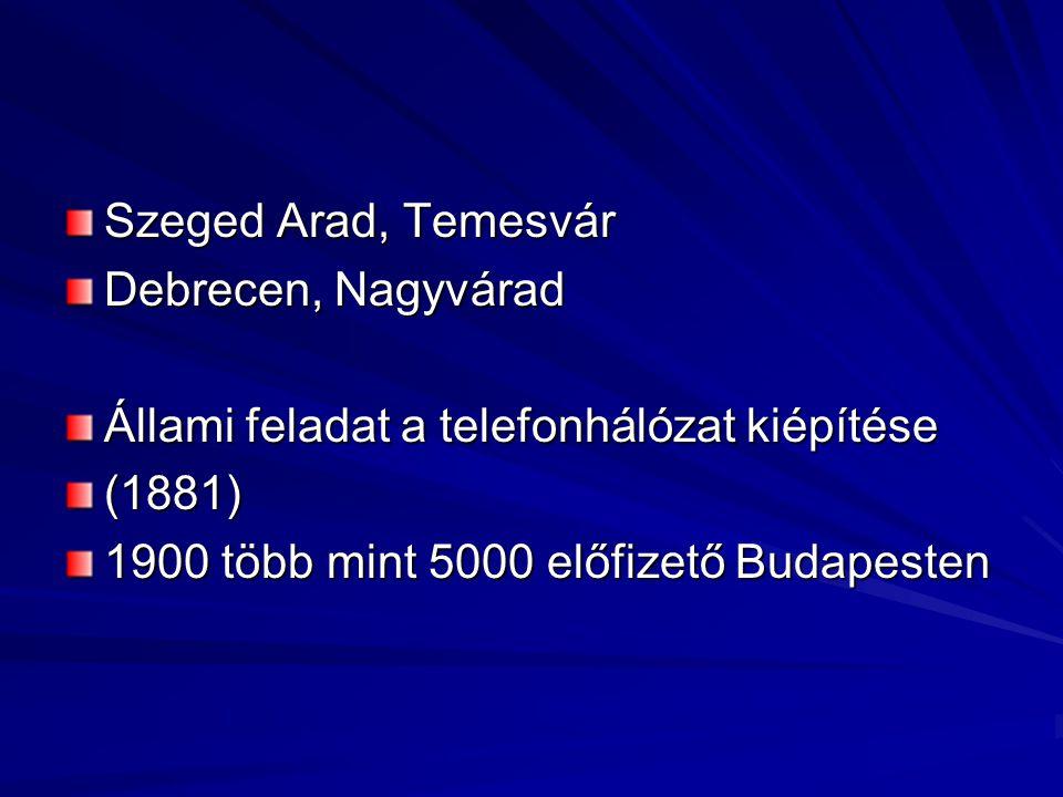 Szeged Arad, Temesvár Debrecen, Nagyvárad Állami feladat a telefonhálózat kiépítése (1881) 1900 több mint 5000 előfizető Budapesten