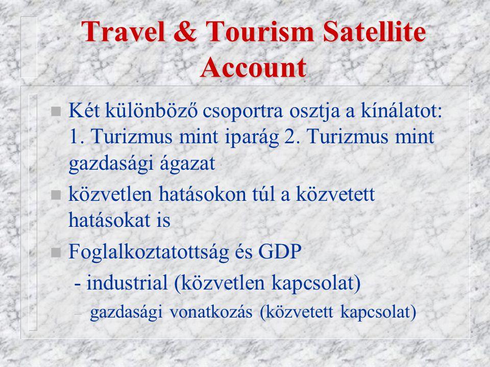 Travel & Tourism Satellite Account n Két különböző csoportra osztja a kínálatot: 1.