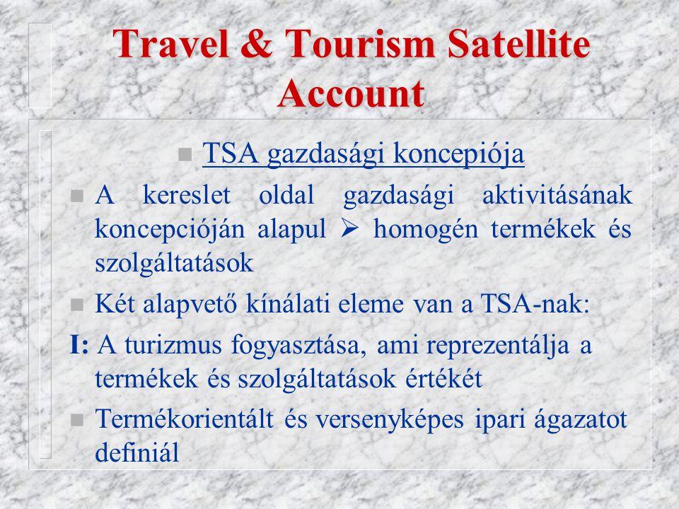 Travel & Tourism Satellite Account n TSA gazdasági koncepiója n A kereslet oldal gazdasági aktivitásának koncepcióján alapul  homogén termékek és szolgáltatások n Két alapvető kínálati eleme van a TSA-nak: I: A turizmus fogyasztása, ami reprezentálja a termékek és szolgáltatások értékét n Termékorientált és versenyképes ipari ágazatot definiál