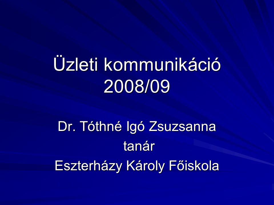 Üzleti kommunikáció 2008/09 Dr. Tóthné Igó Zsuzsanna tanár tanár Eszterházy Károly Főiskola