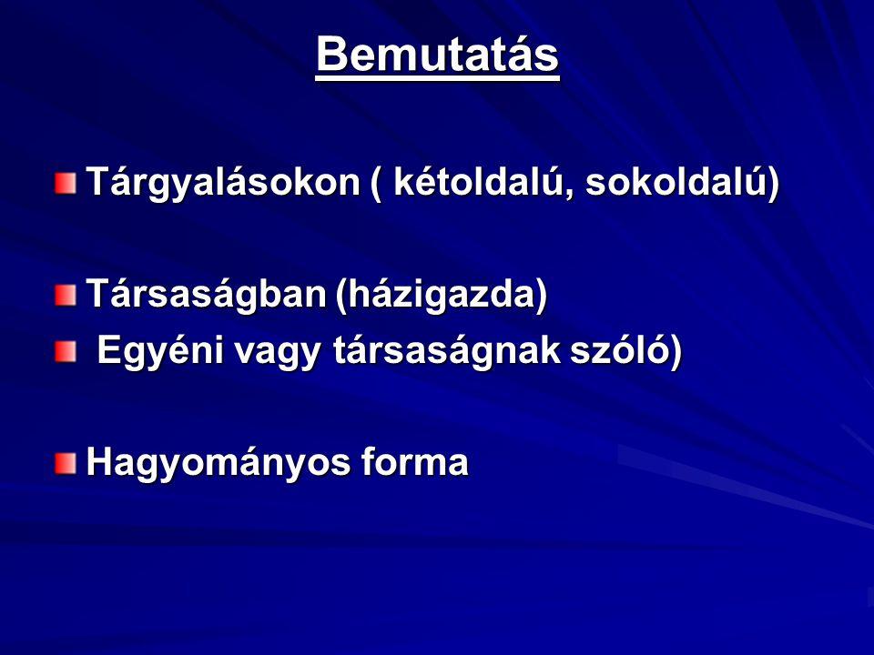 Bemutatás Tárgyalásokon ( kétoldalú, sokoldalú) Társaságban (házigazda) Egyéni vagy társaságnak szóló) Egyéni vagy társaságnak szóló) Hagyományos form