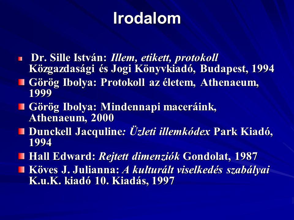 Irodalom Dr. Sille István: Illem, etikett, protokoll Közgazdasági és Jogi Könyvkiadó, Budapest, 1994 Dr. Sille István: Illem, etikett, protokoll Közga