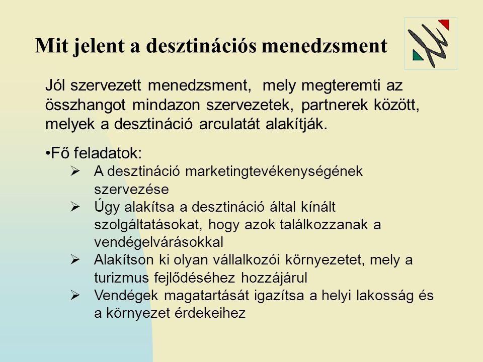 Mit jelent a desztinációs menedzsment Jól szervezett menedzsment, mely megteremti az összhangot mindazon szervezetek, partnerek között, melyek a desztináció arculatát alakítják.