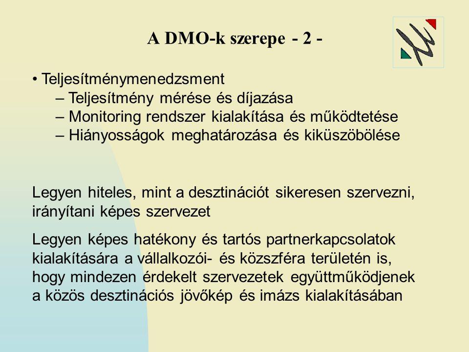 A DMO-k szerepe - 2 - Teljesítménymenedzsment – Teljesítmény mérése és díjazása – Monitoring rendszer kialakítása és működtetése – Hiányosságok meghatározása és kiküszöbölése Legyen hiteles, mint a desztinációt sikeresen szervezni, irányítani képes szervezet Legyen képes hatékony és tartós partnerkapcsolatok kialakítására a vállalkozói- és közszféra területén is, hogy mindezen érdekelt szervezetek együttműködjenek a közös desztinációs jövőkép és imázs kialakításában