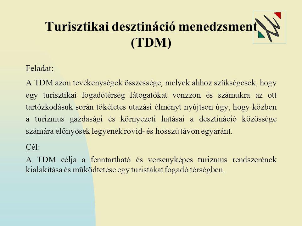 Turisztikai desztináció menedzsment (TDM) Feladat: A TDM azon tevékenységek összessége, melyek ahhoz szükségesek, hogy egy turisztikai fogadótérség látogatókat vonzzon és számukra az ott tartózkodásuk során tökéletes utazási élményt nyújtson úgy, hogy közben a turizmus gazdasági és környezeti hatásai a desztináció közössége számára előnyösek legyenek rövid- és hosszú távon egyaránt.