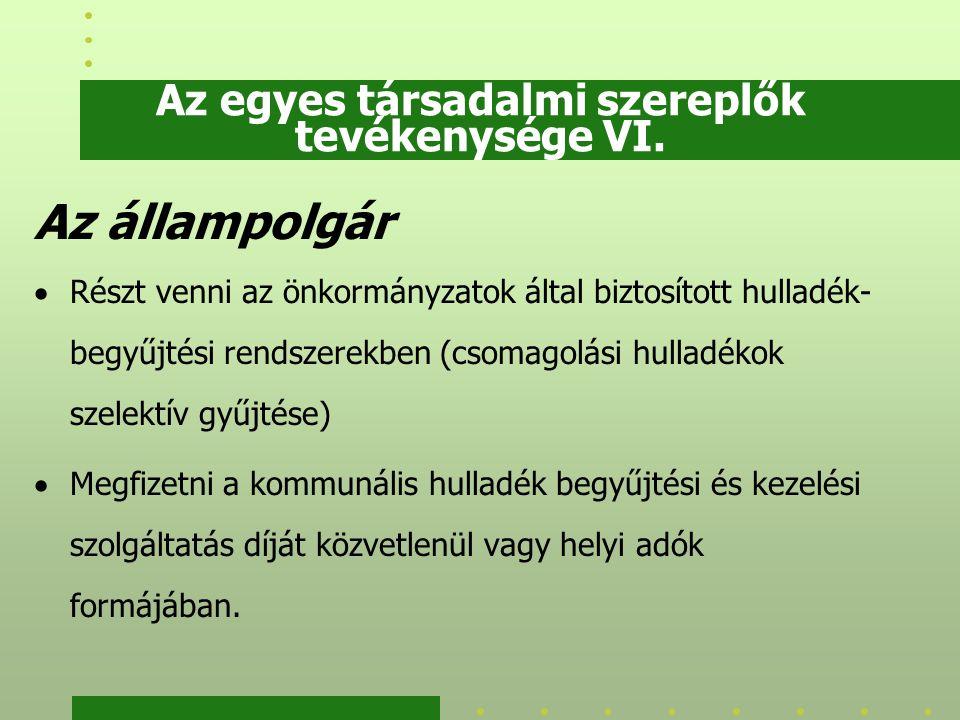 Az egyes társadalmi szereplők tevékenysége VI. Az állampolgár  Részt venni az önkormányzatok által biztosított hulladék- begyűjtési rendszerekben (cs