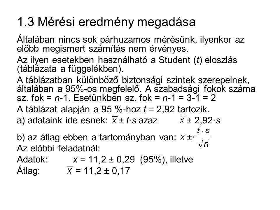 1.3 Mérési eredmény megadása Általában nincs sok párhuzamos mérésünk, ilyenkor az előbb megismert számítás nem érvényes.