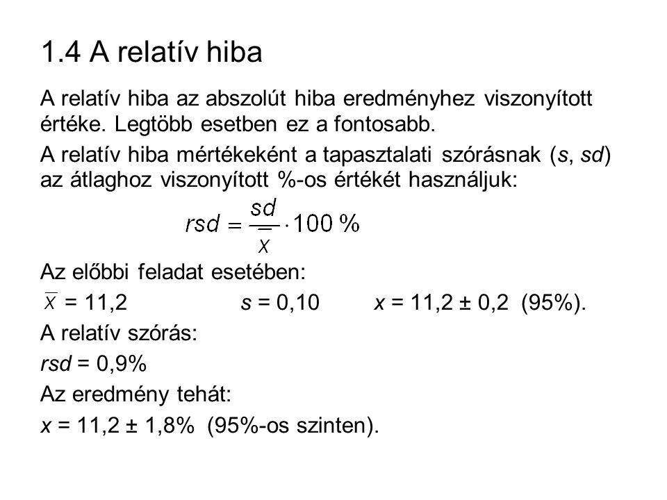 1.4 A relatív hiba A relatív hiba az abszolút hiba eredményhez viszonyított értéke.