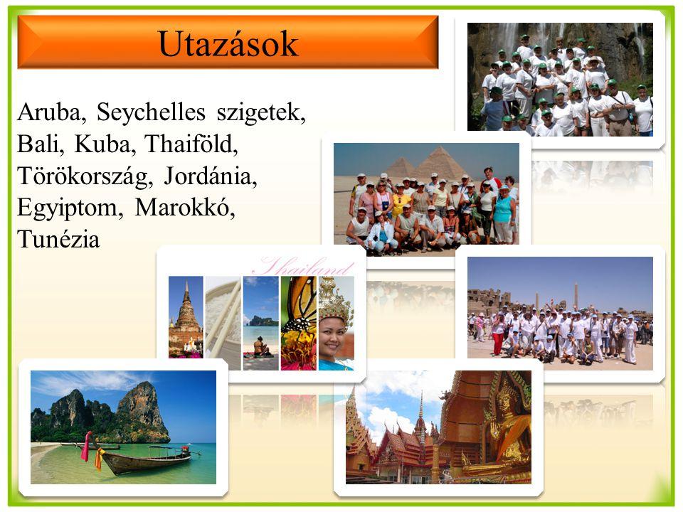 Aruba, Seychelles szigetek, Bali, Kuba, Thaiföld, Törökország, Jordánia, Egyiptom, Marokkó, Tunézia Utazások