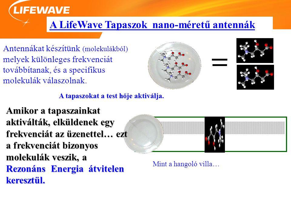 A LifeWave Tapaszok nano-méretű antennák Antennákat készítünk (molekulákból) melyek különleges frekvenciát továbbítanak, és a specifikus molekulák válaszolnak.