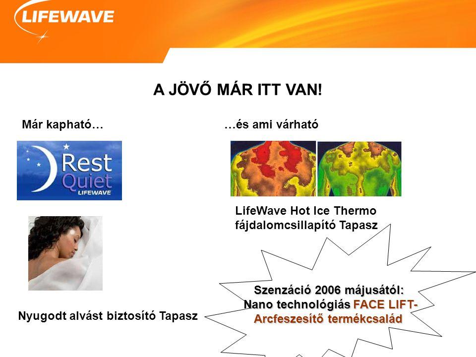 A JÖVŐ MÁR ITT VAN! Már kapható… Nyugodt alvást biztosító Tapasz …és ami várható LifeWave Hot Ice Thermo fájdalomcsillapító Tapasz Szenzáció 2006 máju