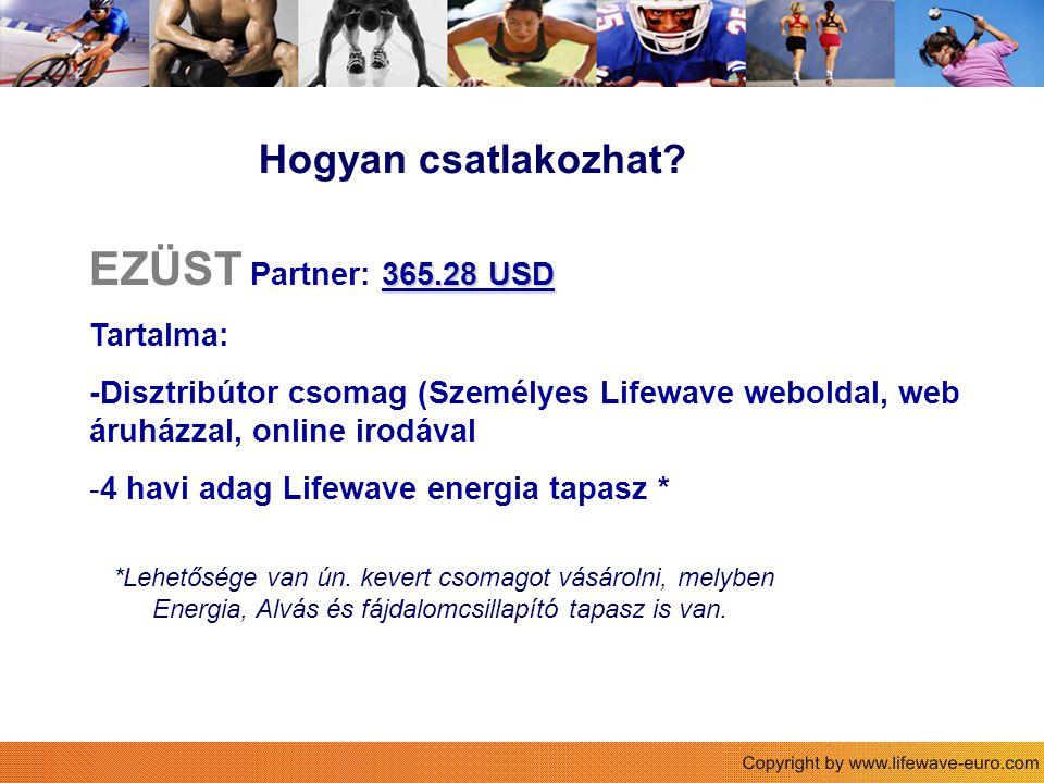 Hogyan csatlakozhat? 365.28 USD EZÜST Partner: 365.28 USD Tartalma: -Disztribútor csomag (Személyes Lifewave weboldal, web áruházzal, online irodával