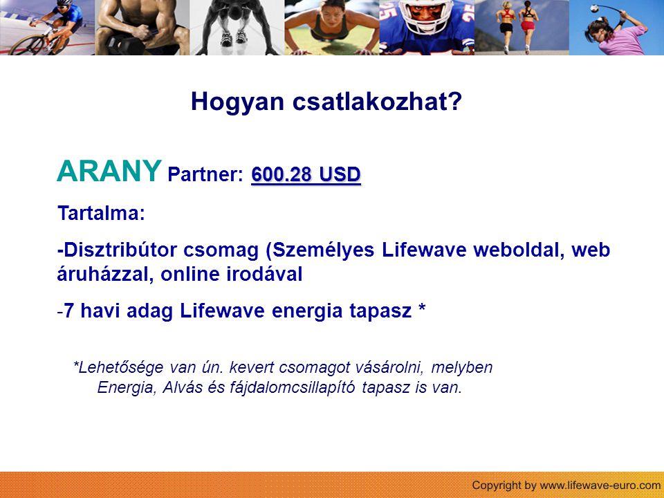 Hogyan csatlakozhat? 600.28 USD ARANY Partner: 600.28 USD Tartalma: -Disztribútor csomag (Személyes Lifewave weboldal, web áruházzal, online irodával