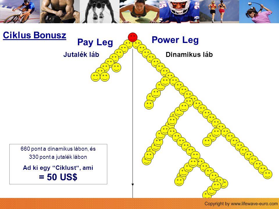 """Power Leg Pay Leg Der Life Wave Vergütungsplan 660 pont a dinamikus lábon, és 330 pont a jutalék lábon Ad ki egy """"Ciklust"""", ami = 50 US$ Ciklus Bonusz"""