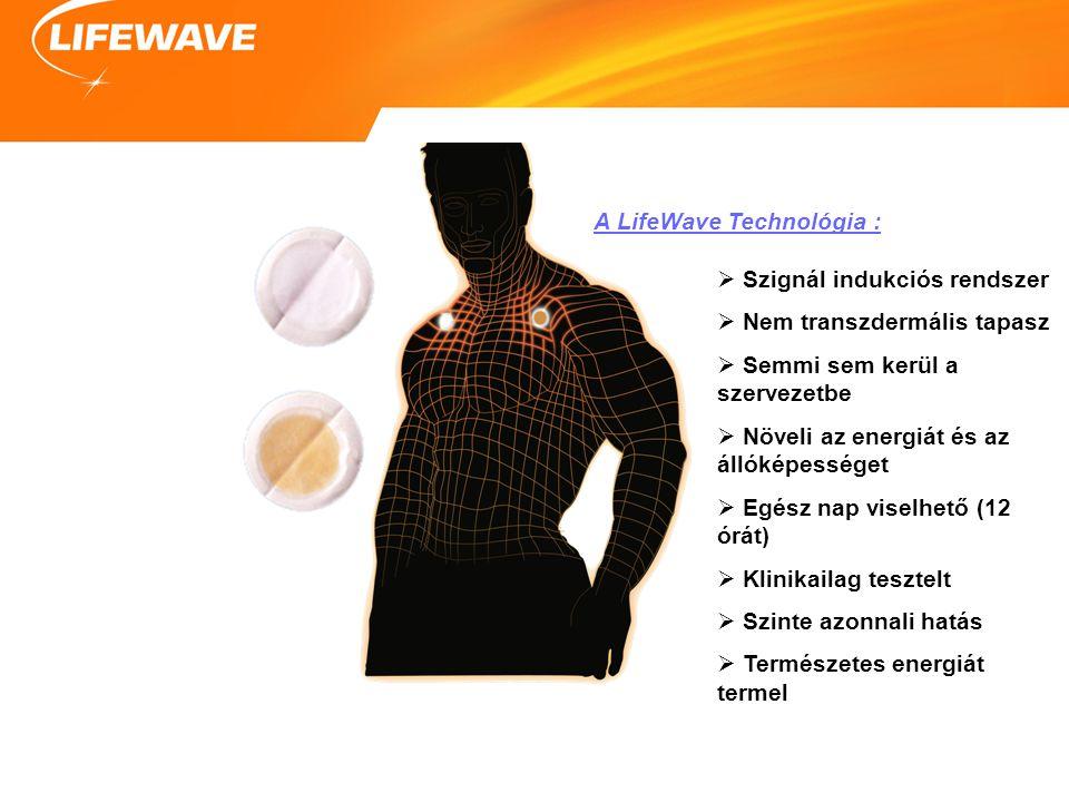 A LifeWave Technológia :  Szignál indukciós rendszer  Nem transzdermális tapasz  Semmi sem kerül a szervezetbe  Növeli az energiát és az állóképességet  Egész nap viselhető (12 órát)  Klinikailag tesztelt  Szinte azonnali hatás  Természetes energiát termel