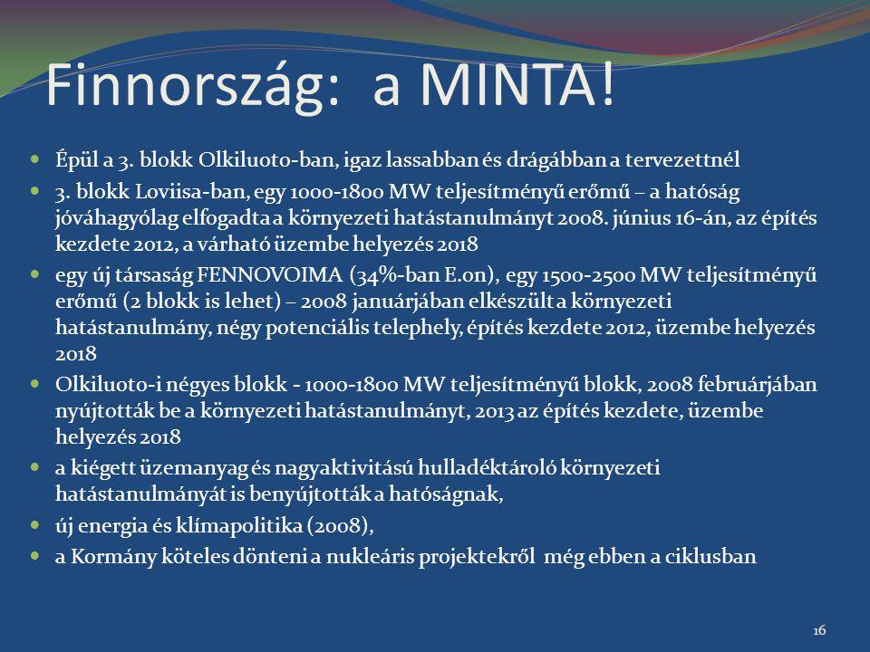 Finnország: a MINTA! Épül a 3. blokk Olkiluoto-ban, igaz lassabban és drágábban a tervezettnél 3. blokk Loviisa-ban, egy 1000-1800 MW teljesítményű er