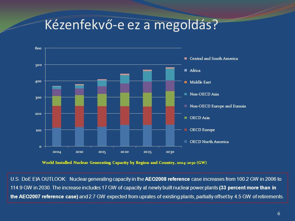 A NEA prognózisa 2050-re a világ atomerőműveinek összteljesítménye a 1,5 szeresére illetve a 3,8-szeresére nő; Az optimista szcenárió alapján az atomerőművek részesedése a világ villamosenergia-termelésében a mai 16% helyett 22% lesz 2050-ben; Mindkét szcenárió szerint az atomerőművi villamosenergia-termelés erősen az OECD országok bázisán valósul majd meg; Annak ellenére, hogy több ország, amelyik ma még nem rendelkezik atomerőművel, tervezi, hogy belép az atomenergiát alkalmazók közösségébe, 2020-ban ezen országok valószínűleg csak 5%-át képviselik majd a világ beépített atomerőművi teljesítményének.