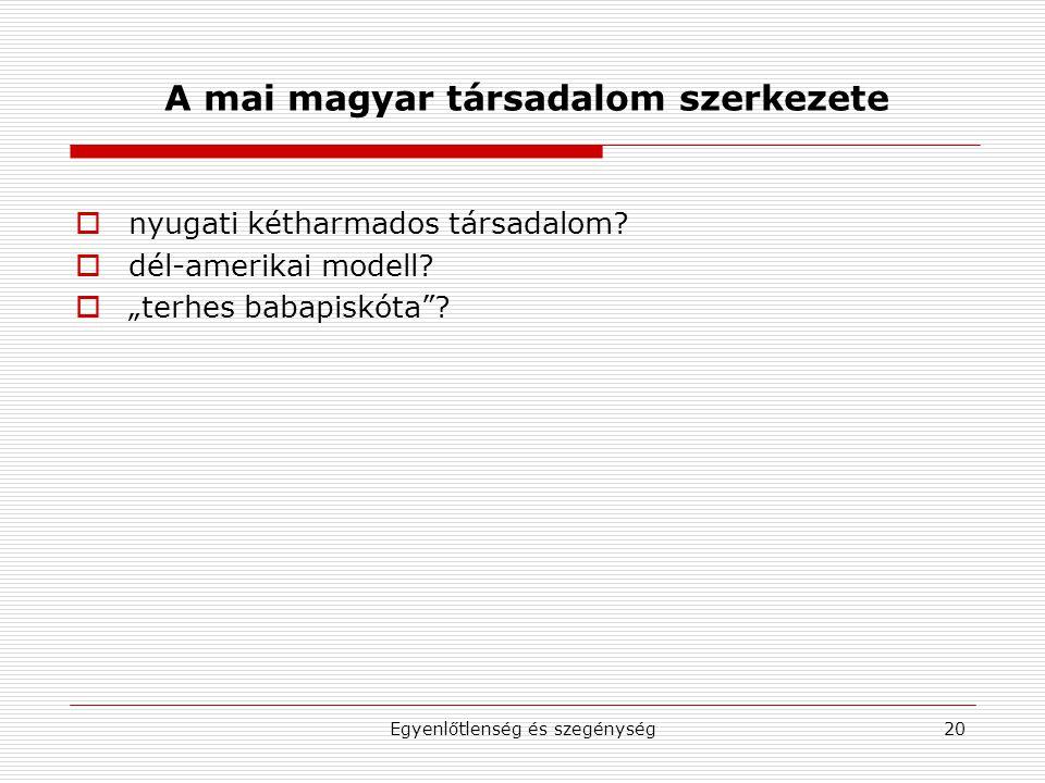 """Egyenlőtlenség és szegénység20 A mai magyar társadalom szerkezete  nyugati kétharmados társadalom?  dél-amerikai modell?  """"terhes babapiskóta""""?"""
