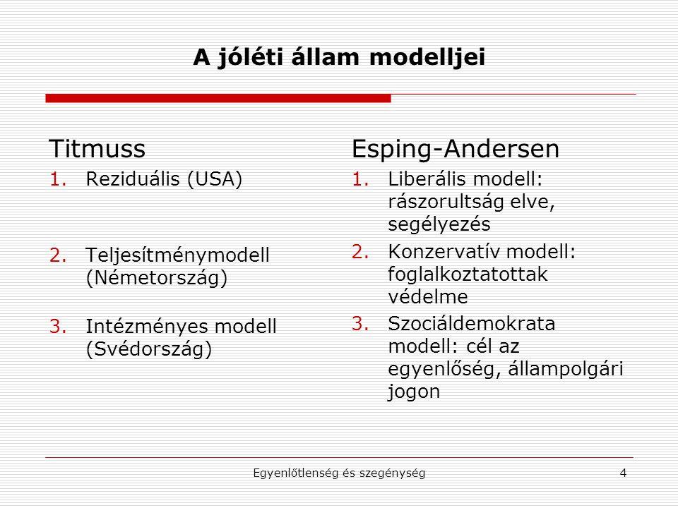 Egyenlőtlenség és szegénység4 A jóléti állam modelljei Titmuss 1.Reziduális (USA) 2.Teljesítménymodell (Németország) 3.Intézményes modell (Svédország) Esping-Andersen 1.Liberális modell: rászorultság elve, segélyezés 2.Konzervatív modell: foglalkoztatottak védelme 3.Szociáldemokrata modell: cél az egyenlőség, állampolgári jogon
