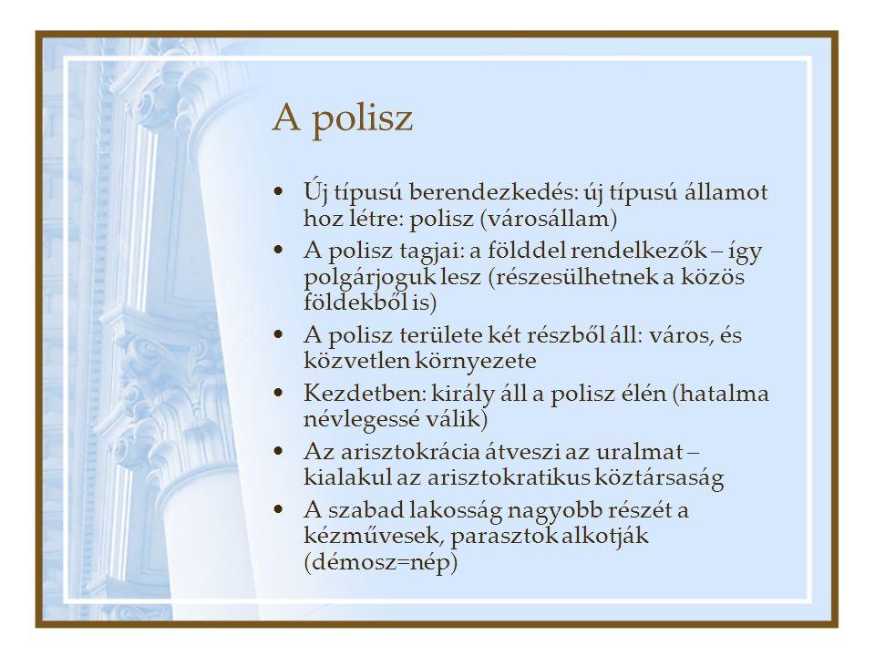 A polisz Új típusú berendezkedés: új típusú államot hoz létre: polisz (városállam) A polisz tagjai: a földdel rendelkezők – így polgárjoguk lesz (rész