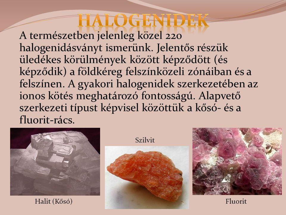 A természetben jelenleg közel 220 halogenidásványt ismerünk. Jelentős részük üledékes körülmények között képződött (és képződik) a földkéreg felszínkö