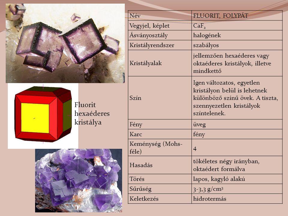 NévFLUORIT, FOLYPÁT Vegyjel, képletCaF 2 Ásványosztályhalogének Kristályrendszerszabályos Kristályalak jellemzően hexaéderes vagy oktaéderes kristályo