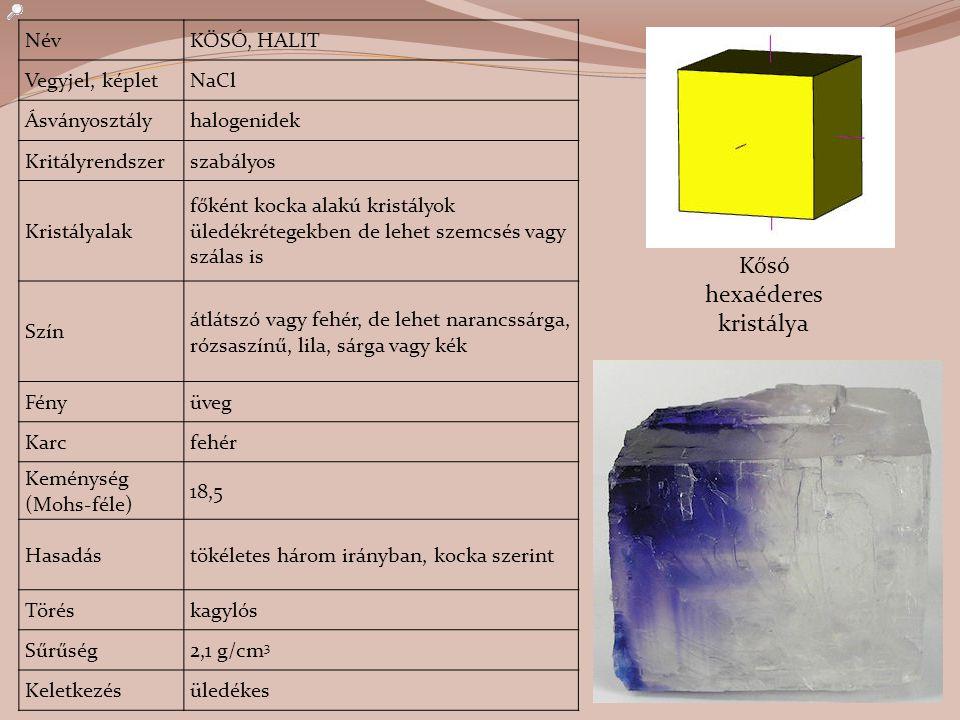 NévKŐSÓ, HALIT Vegyjel, képletNaCl Ásványosztályhalogenidek Kritályrendszerszabályos Kristályalak főként kocka alakú kristályok üledékrétegekben de le