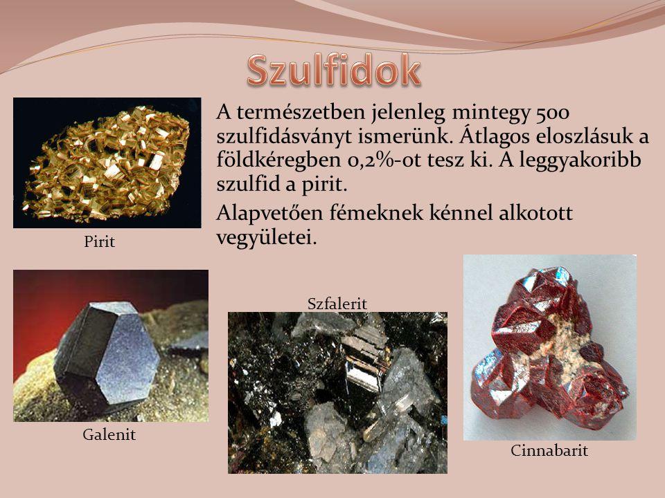 A természetben jelenleg mintegy 500 szulfidásványt ismerünk. Átlagos eloszlásuk a földkéregben 0,2%-ot tesz ki. A leggyakoribb szulfid a pirit. Alapve
