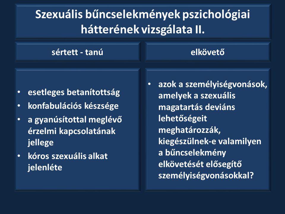 Szexuális bűncselekmények pszichológiai hátterének vizsgálata II. sértett - tanú esetleges betanítottság konfabulációs készsége a gyanúsítottal meglév