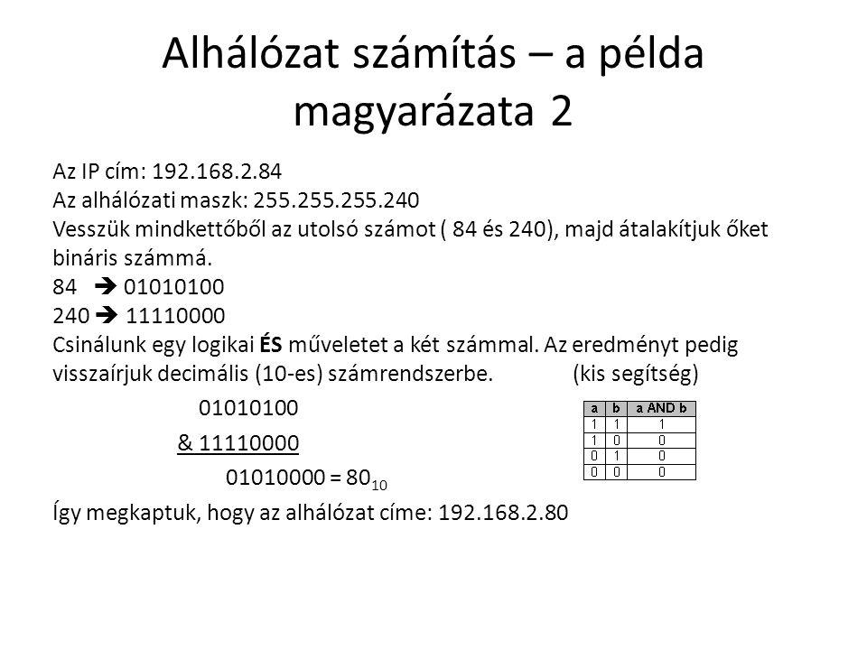 Alhálózat számítás – a példa magyarázata 2 Az IP cím: 192.168.2.84 Az alhálózati maszk: 255.255.255.240 Vesszük mindkettőből az utolsó számot ( 84 és