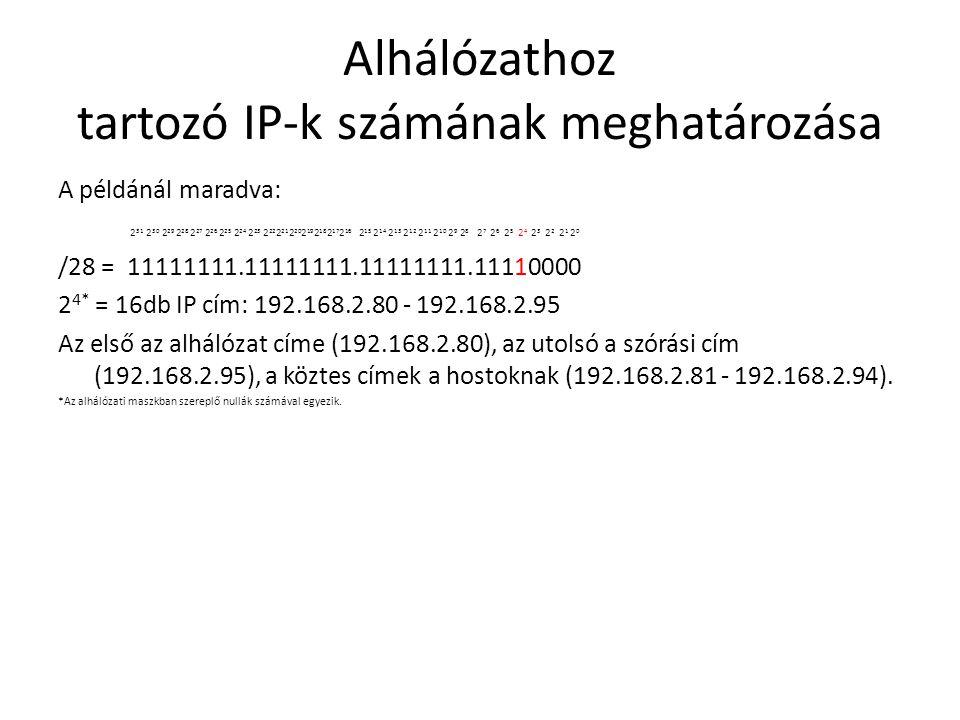Alhálózathoz tartozó IP-k számának meghatározása A példánál maradva: 2 31 2 30 2 29 2 28 2 27 2 26 2 25 2 24 2 23 2 22 2 21 2 20 2 19 2 18 2 17 2 16 2 15 2 14 2 13 2 12 2 11 2 10 2 9 2 8 2 7 2 6 2 5 2 4 2 3 2 2 2 1 2 0 /28 = 11111111.11111111.11111111.11110000 2 4* = 16db IP cím: 192.168.2.80 - 192.168.2.95 Az első az alhálózat címe (192.168.2.80), az utolsó a szórási cím (192.168.2.95), a köztes címek a hostoknak (192.168.2.81 - 192.168.2.94).