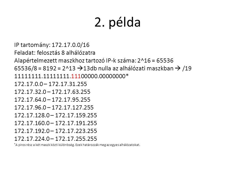 2. példa IP tartomány: 172.17.0.0/16 Feladat: felosztás 8 alhálózatra Alapértelmezett maszkhoz tartozó IP-k száma: 2^16 = 65536 65536/8 = 8192 = 2^13