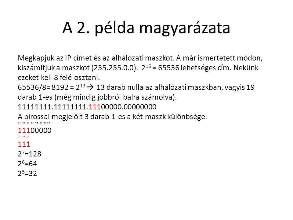 A 2. példa magyarázata Megkapjuk az IP címet és az alhálózati maszkot. A már ismertetett módon, kiszámítjuk a maszkot (255.255.0.0). 2 16 = 65536 lehe