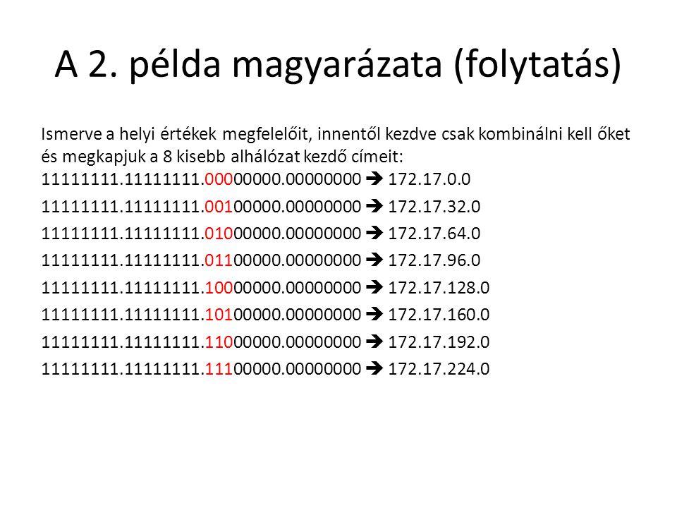 Feladatok IP cím: 154.16.52.16 Alhálózati maszk: 255.255.240.0 Határozd meg a lehetséges alhálózatok számát.