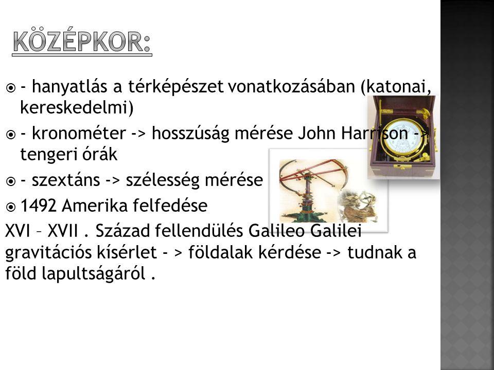  - hanyatlás a térképészet vonatkozásában (katonai, kereskedelmi)  - kronométer -> hosszúság mérése John Harrison -> tengeri órák  - szextáns -> szélesség mérése  1492 Amerika felfedése XVI – XVII.